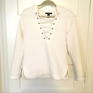 Forever21 White Lace Up Hoodie